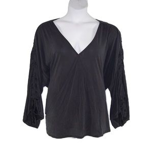 CATO 26W/28W Ideal Black Ruched Sleeve Top-NWT
